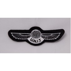 "U.N.I.T wings patch, 4"" white"